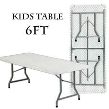 Kids Rectangular Folding Table 6'x30″ Seats 6 – White